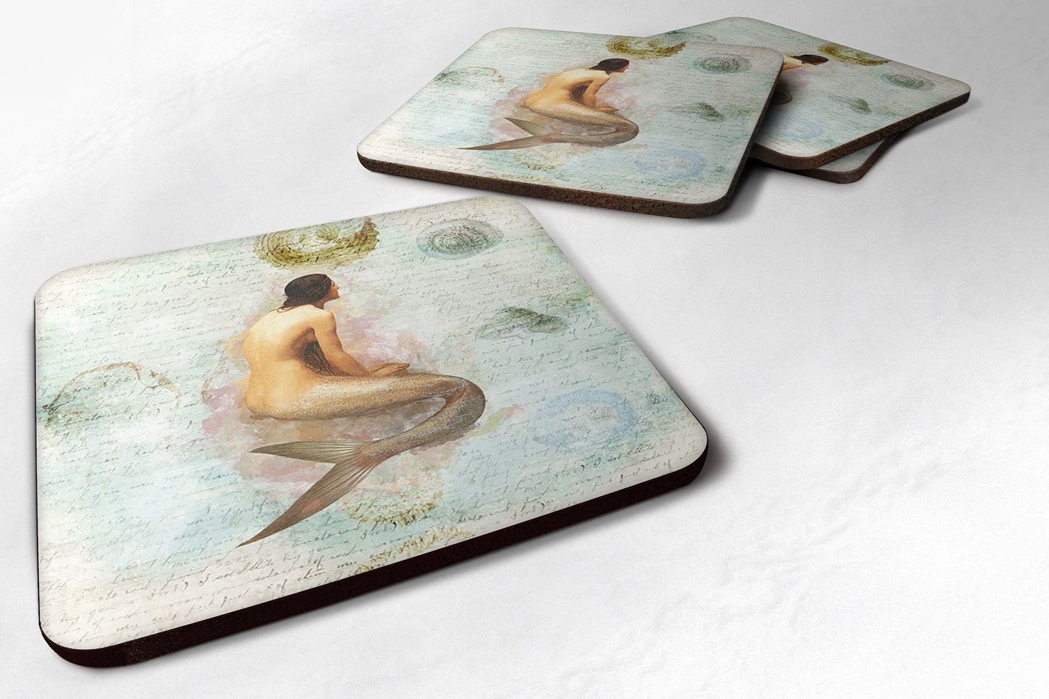Set of 4 Mermaids and Mermen  Foam Coasters by Caroline's Treasures