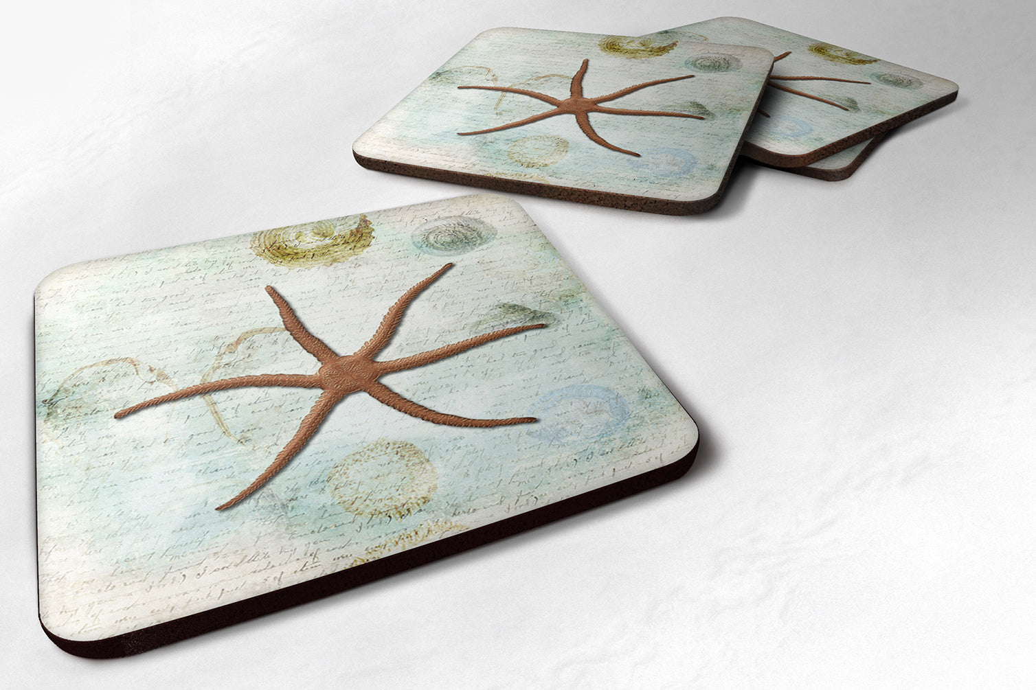 Set of 4 Starfish  Foam Coasters by Caroline's Treasures