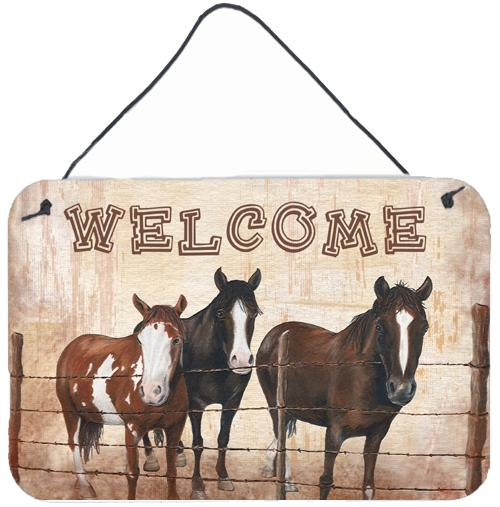 Welcome Mat with Horses Aluminium Metal Wall or Door Hanging Prints SB3059DS812 by Caroline's Treasures