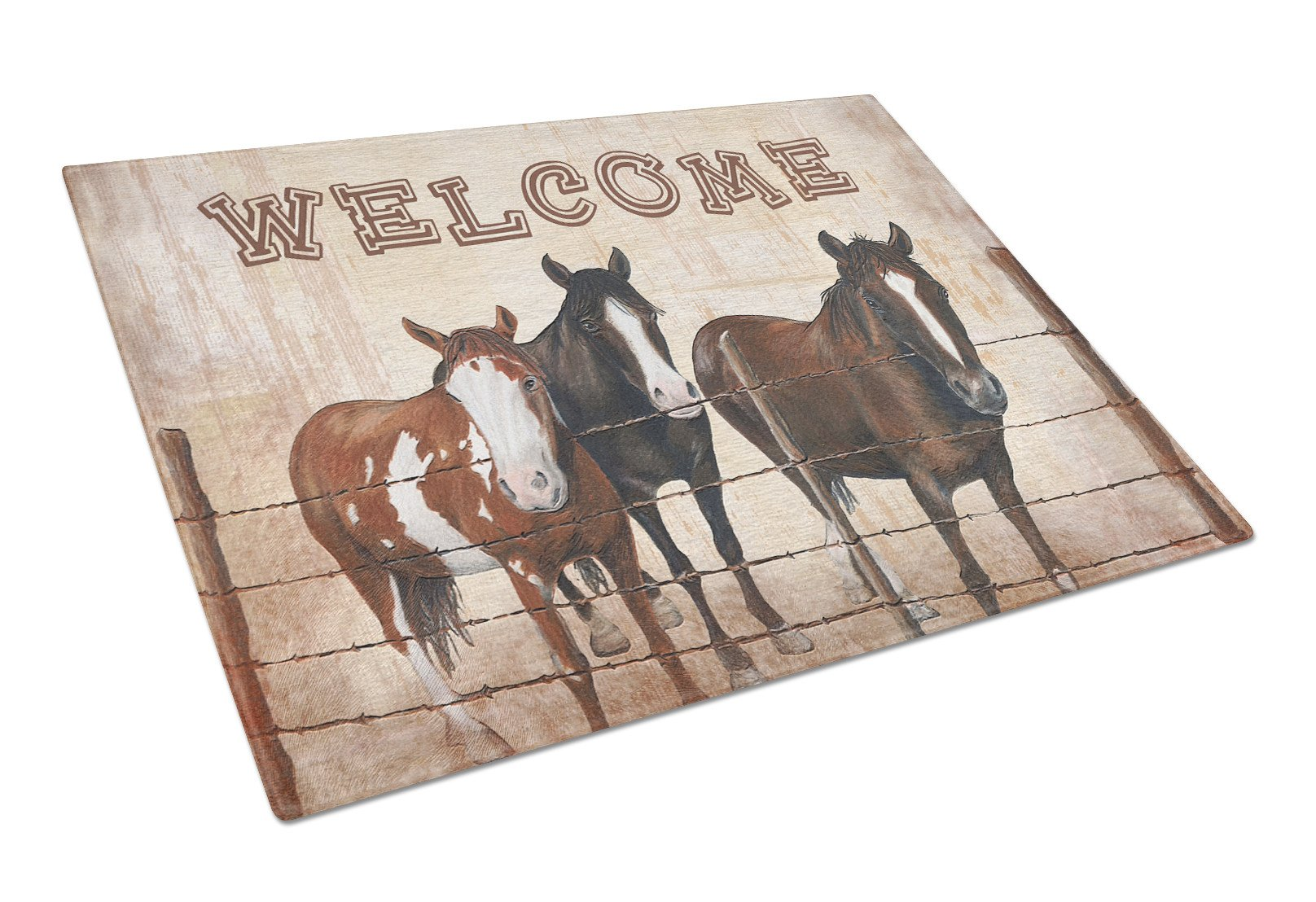 Welcome Mat with Horses Glass Cutting Board Large Size SB3059LCB by Caroline's Treasures