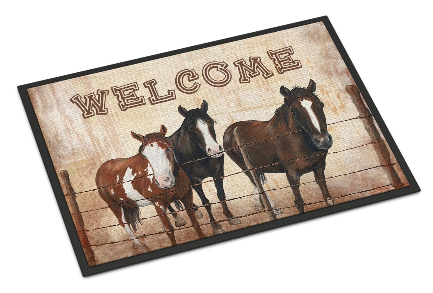 Welcome Mat with Horses Indoor or Outdoor Mat 18x27 SB3059MAT - the-store.com