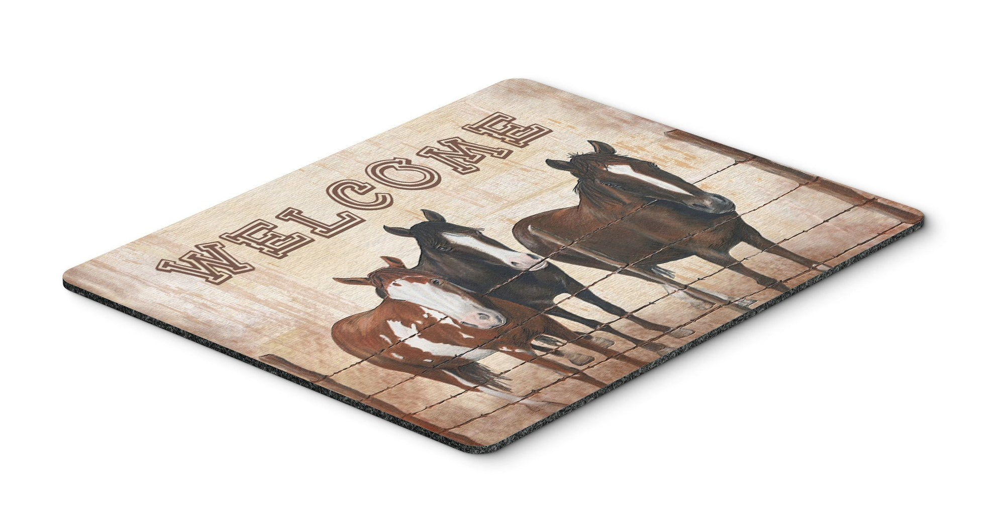 Welcome Mat with Horses Mouse Pad, Hot Pad or Trivet SB3059MP by Caroline's Treasures