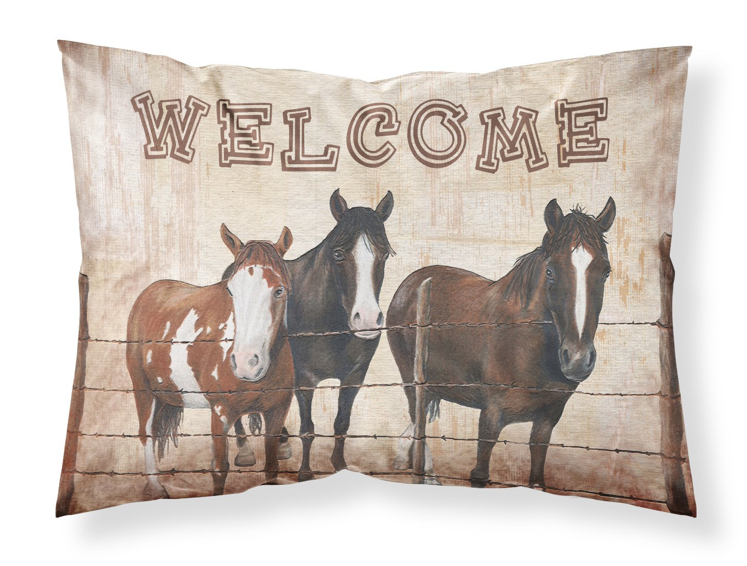 Welcome Mat with Horses Moisture wicking Fabric standard pillowcase SB3059PILLOWCASE by Caroline's Treasures