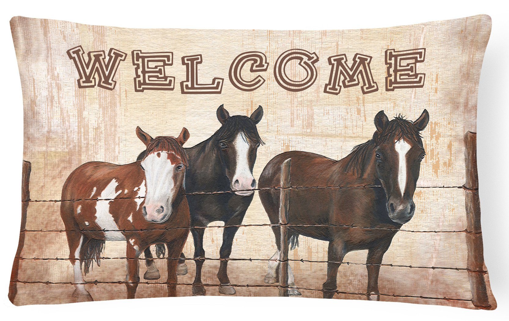 Welcome Mat with Horses   Canvas Fabric Decorative Pillow SB3059PW1216 by Caroline's Treasures