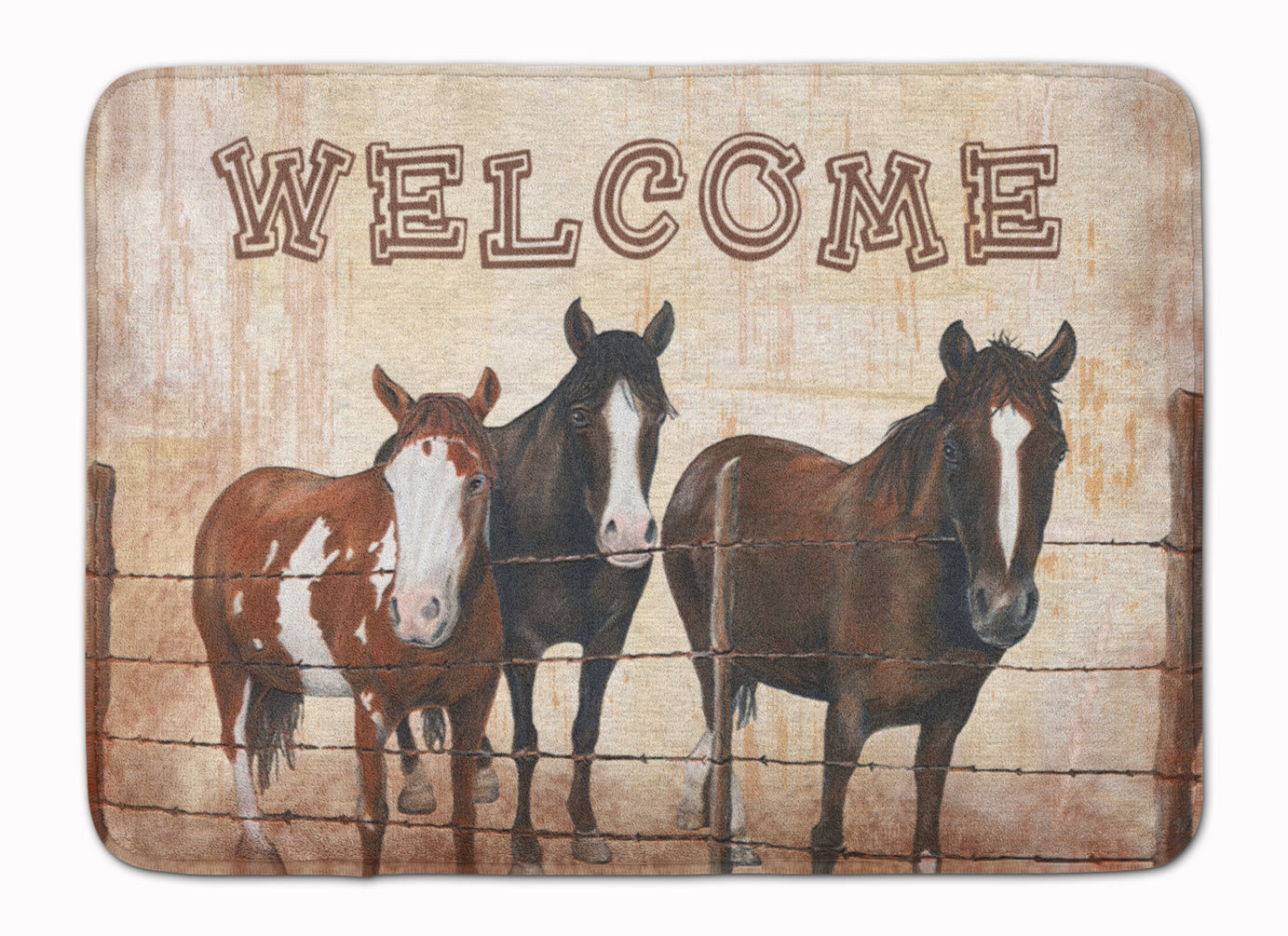 Welcome Mat with Horses Machine Washable Memory Foam Mat SB3059RUG by Caroline's Treasures
