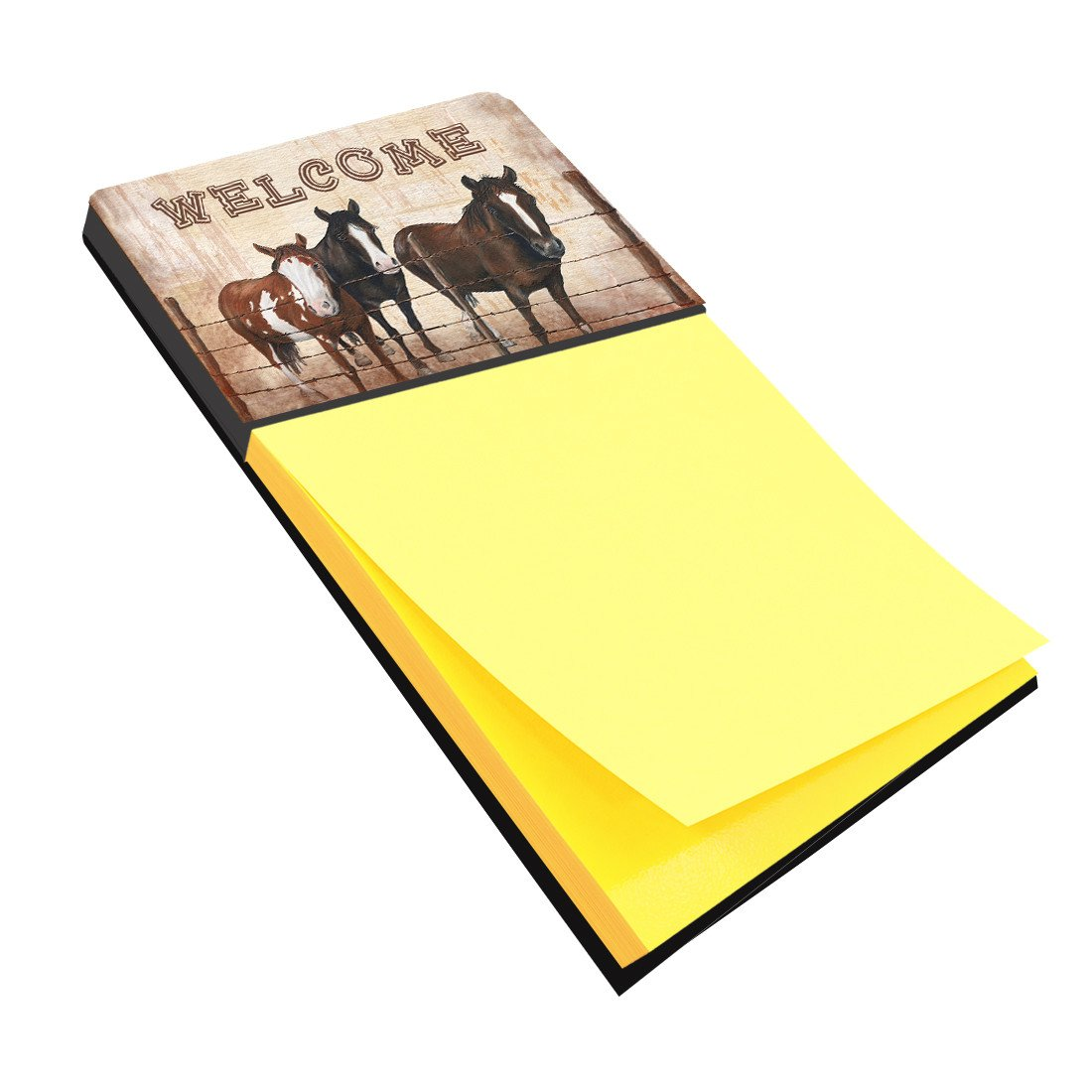 Welcome Mat with Horses Refiillable Sticky Note Holder or Postit Note Dispenser SB3059SN by Caroline's Treasures