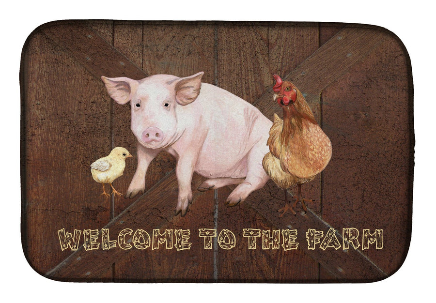 Buy this Welcome to the Farm with the pig and chicken Dish Drying Mat SB3083DDM