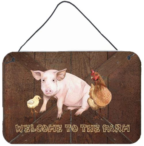 Welcome to the Farm with the pig and chicken Wall or Door Hanging Prints SB3083DS812 by Caroline's Treasures