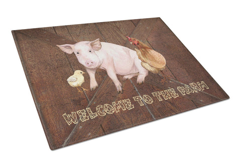 Buy this Welcome to the Farm with the pig and chicken Glass Cutting Board Large Size SB3083LCB