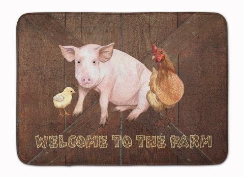 Buy this Welcome to the Farm with the pig and chicken Machine Washable Memory Foam Mat SB3083RUG