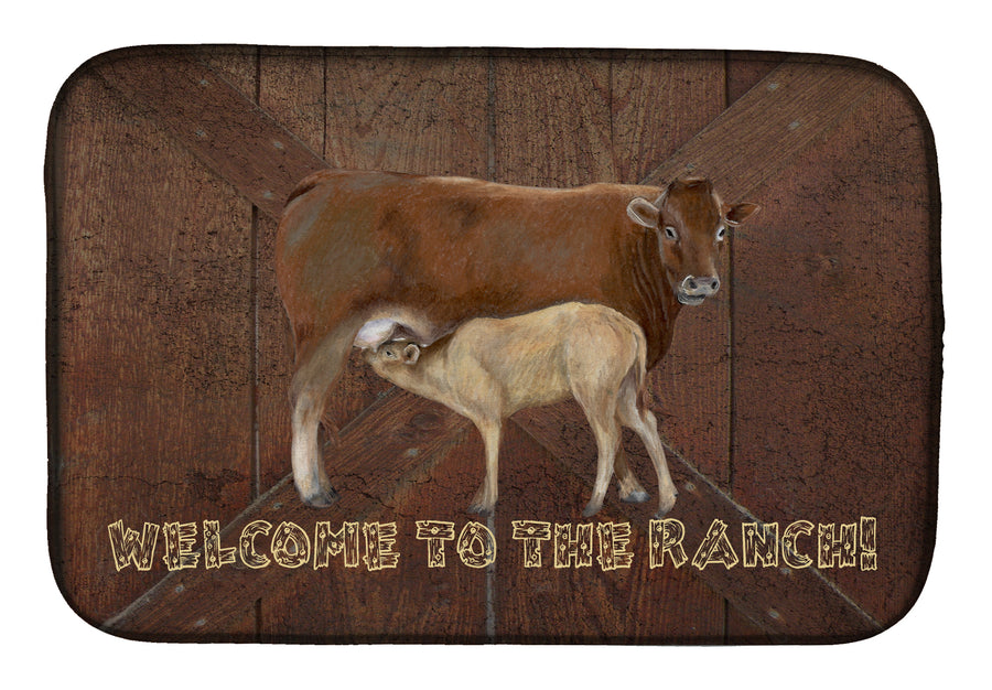 Buy this Welcome to the Ranch with the Cow and Baby Dish Drying Mat SB3084DDM