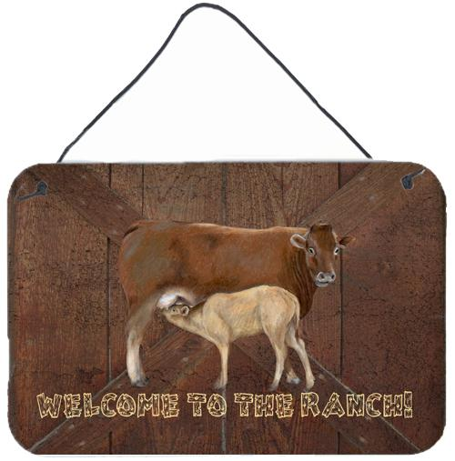 Welcome to the Ranch with the Cow and Baby Wall or Door Hanging Prints by Caroline's Treasures