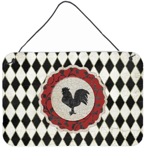 Rooster Harlequin Black and white Wall or Door Hanging Prints by Caroline's Treasures