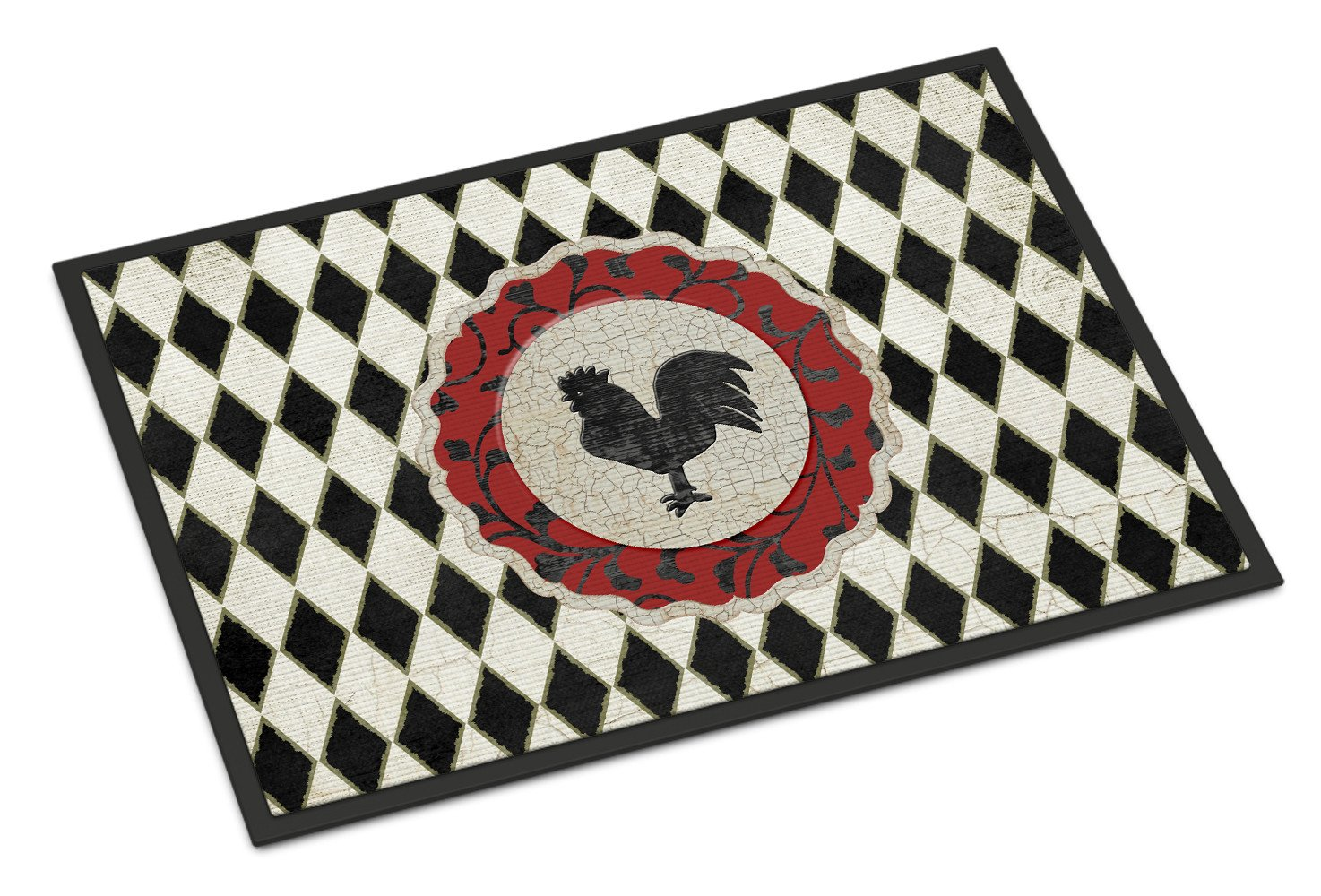 Rooster Harlequin Black and white Indoor or Outdoor Mat 18x27 SB3086MAT by Caroline's Treasures