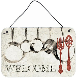 Buy this Pots and Pans Welcome Aluminium Metal Wall or Door Hanging Prints