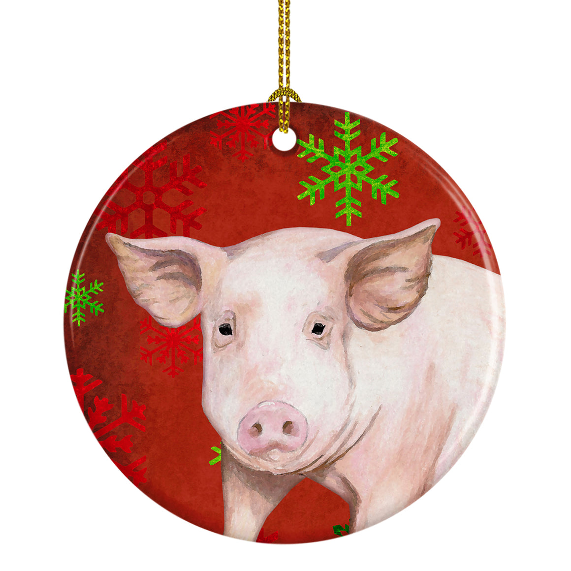 Buy this Pig Red Snowflakes Holiday Christmas Ceramic Ornament SB3125CO1