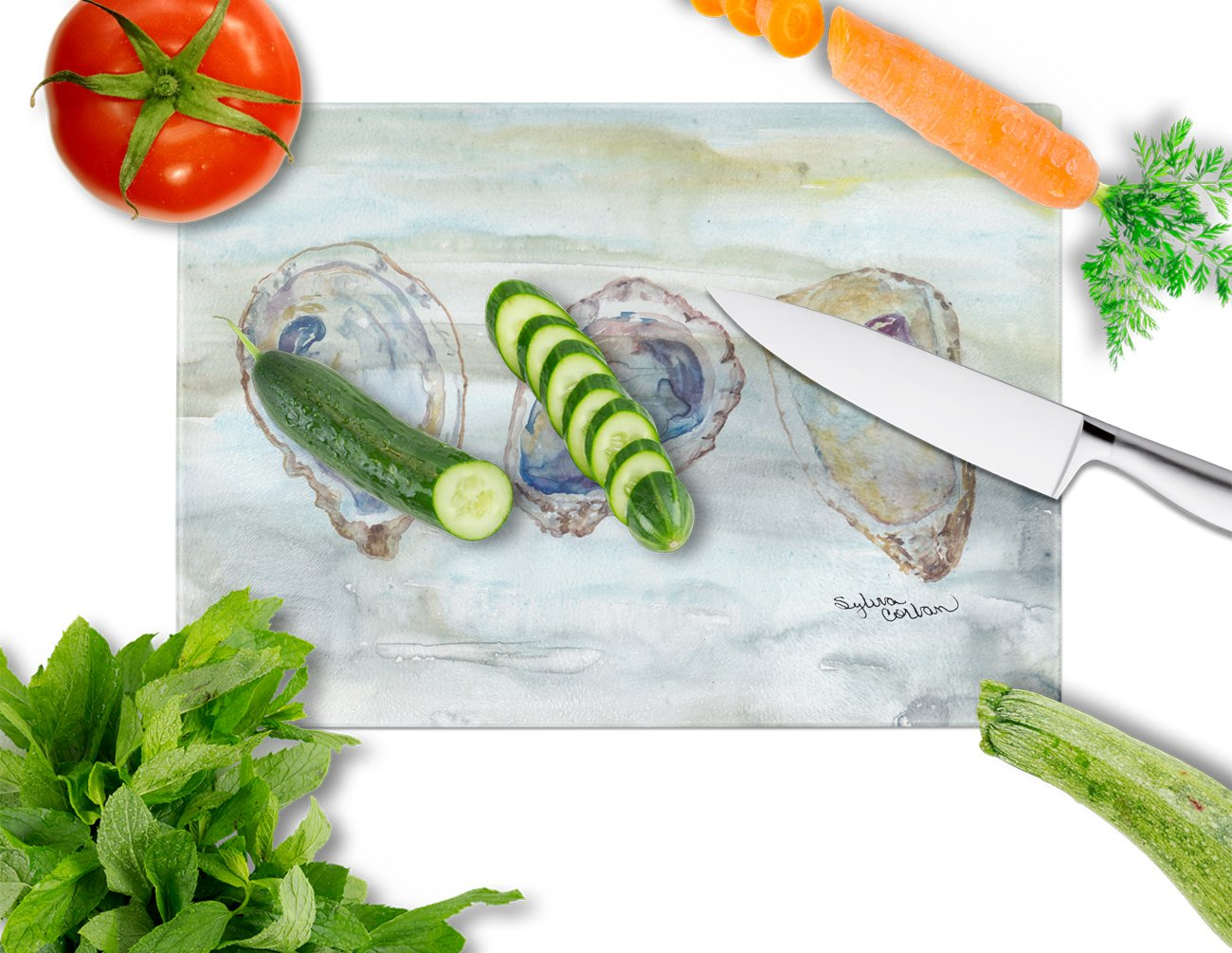 Oysters Watercolor Glass Cutting Board Large SC2001LCB by Caroline's Treasures