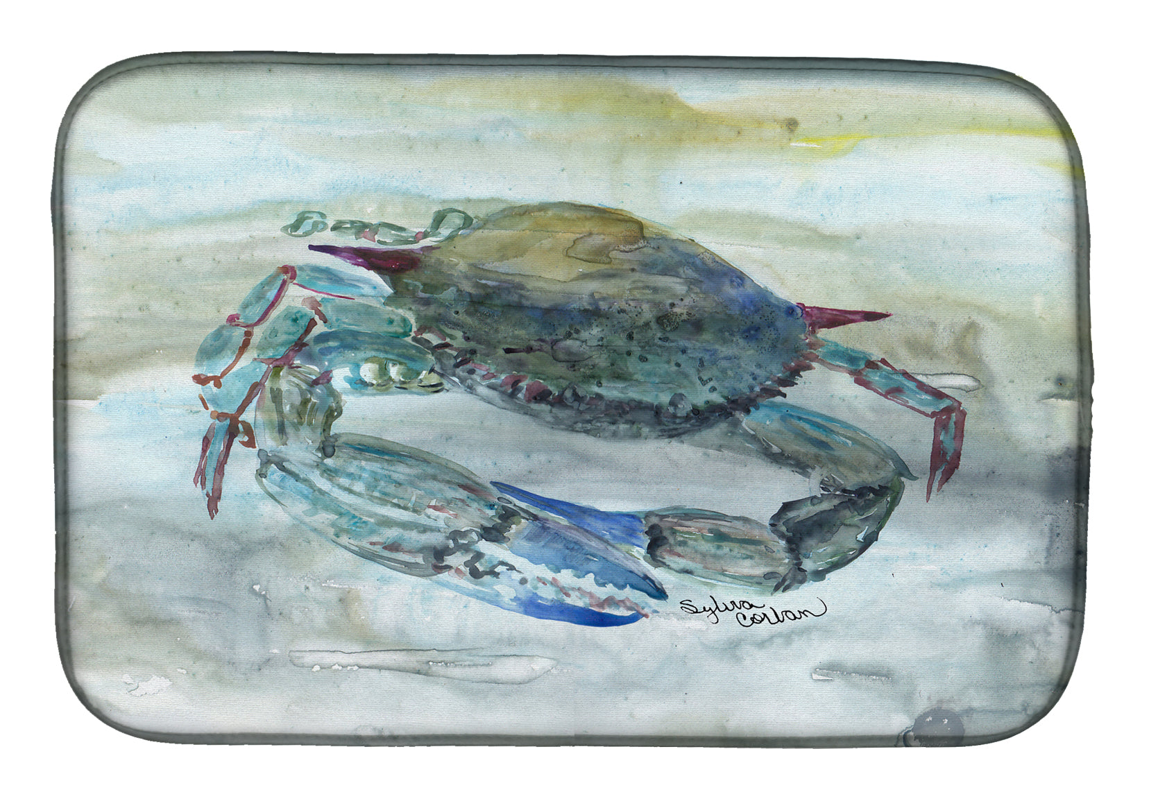 Blue Crab Watercolor Dish Drying Mat SC2003DDM by Caroline's Treasures
