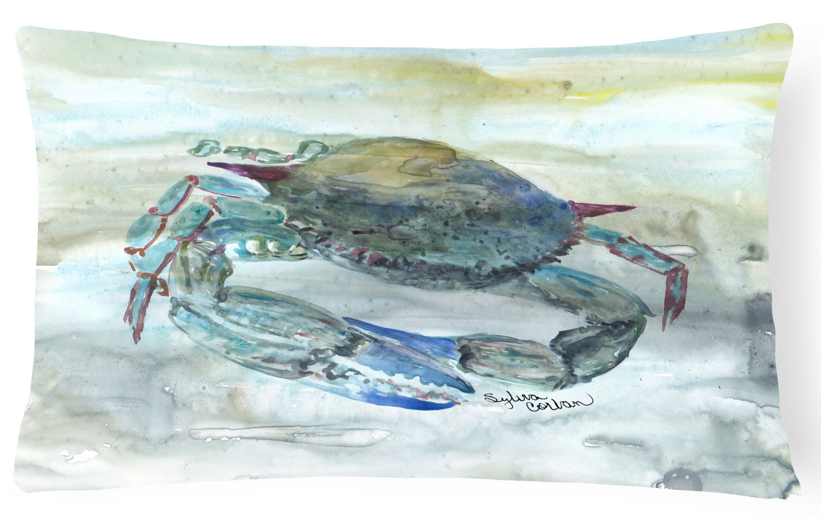 Buy this Blue Crab Watercolor Canvas Fabric Decorative Pillow SC2003PW1216