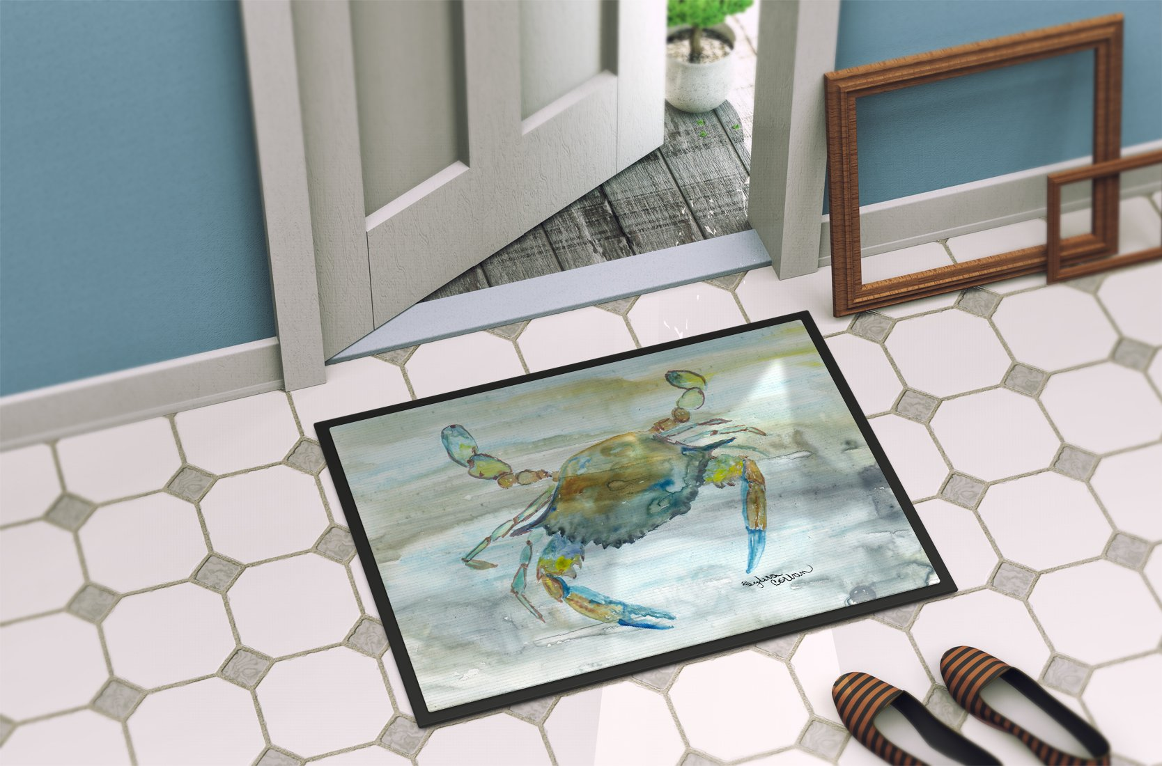 Blue Crab #2 Watercolor Indoor or Outdoor Mat 24x36 SC2004JMAT by Caroline's Treasures