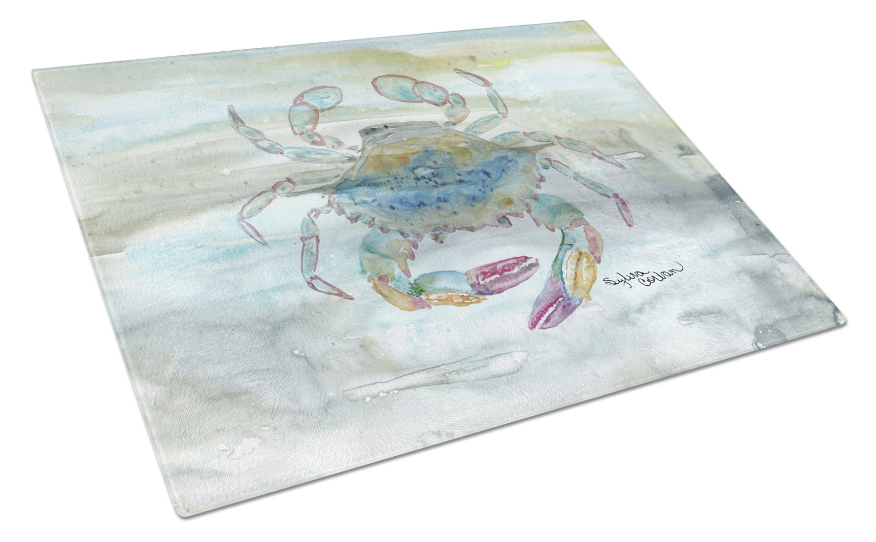 Female Blue Crab Watercolor Glass Cutting Board Large SC2005LCB by Caroline's Treasures