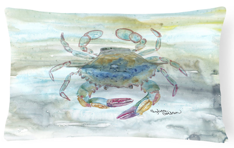 Buy this Female Blue Crab Watercolor Canvas Fabric Decorative Pillow SC2005PW1216