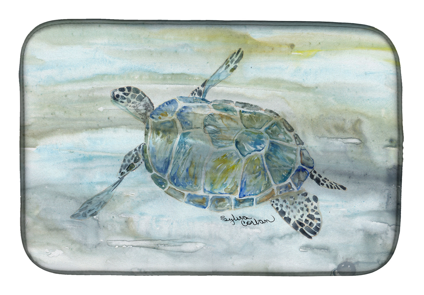 Buy this Sea Turtle Watercolor Dish Drying Mat SC2006DDM