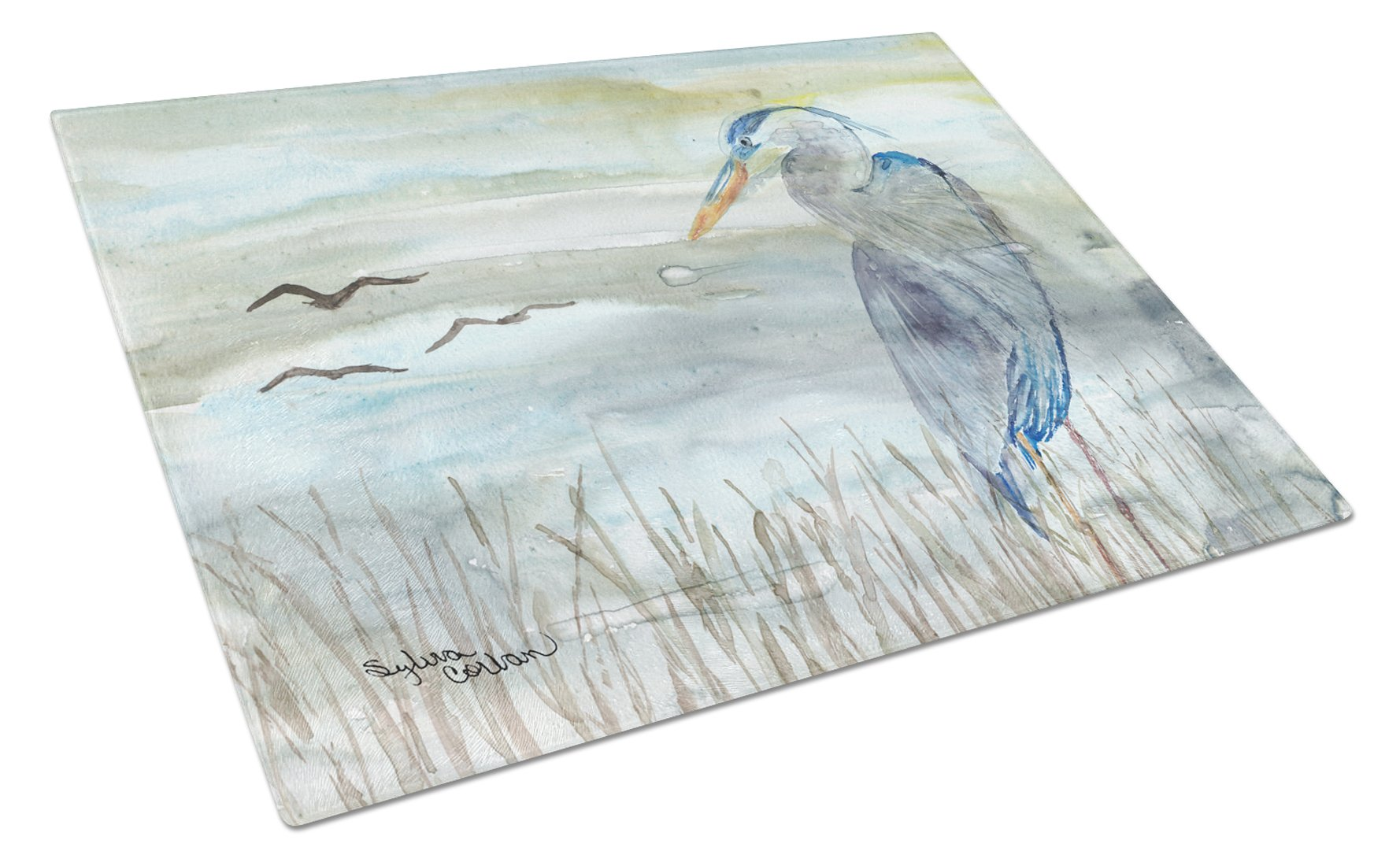 Buy this Blue Heron Watercolor Glass Cutting Board Large SC2007LCB