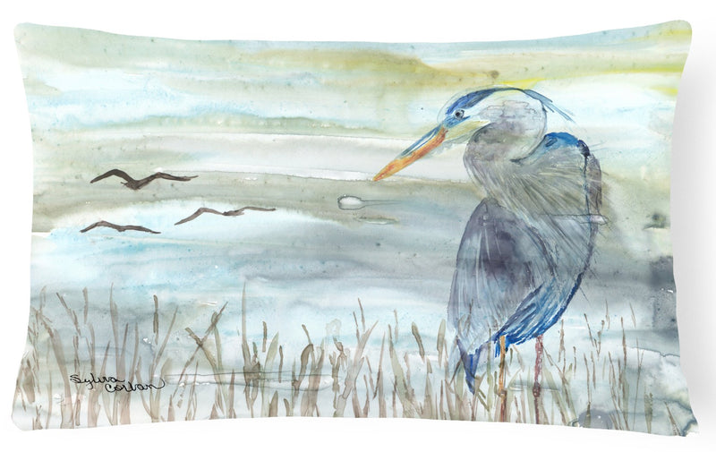 Buy this Blue Heron Watercolor Canvas Fabric Decorative Pillow SC2007PW1216
