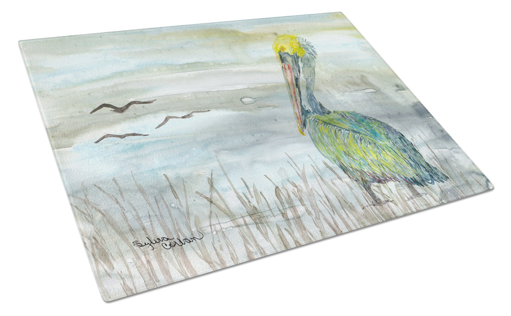 Pelican Watercolor Glass Cutting Board Large SC2008LCB by Caroline's Treasures