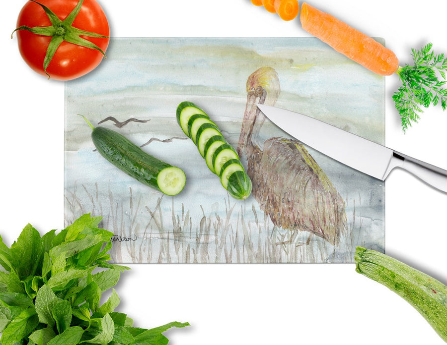 Buy this Brown Pelican Watercolor Glass Cutting Board Large SC2009LCB
