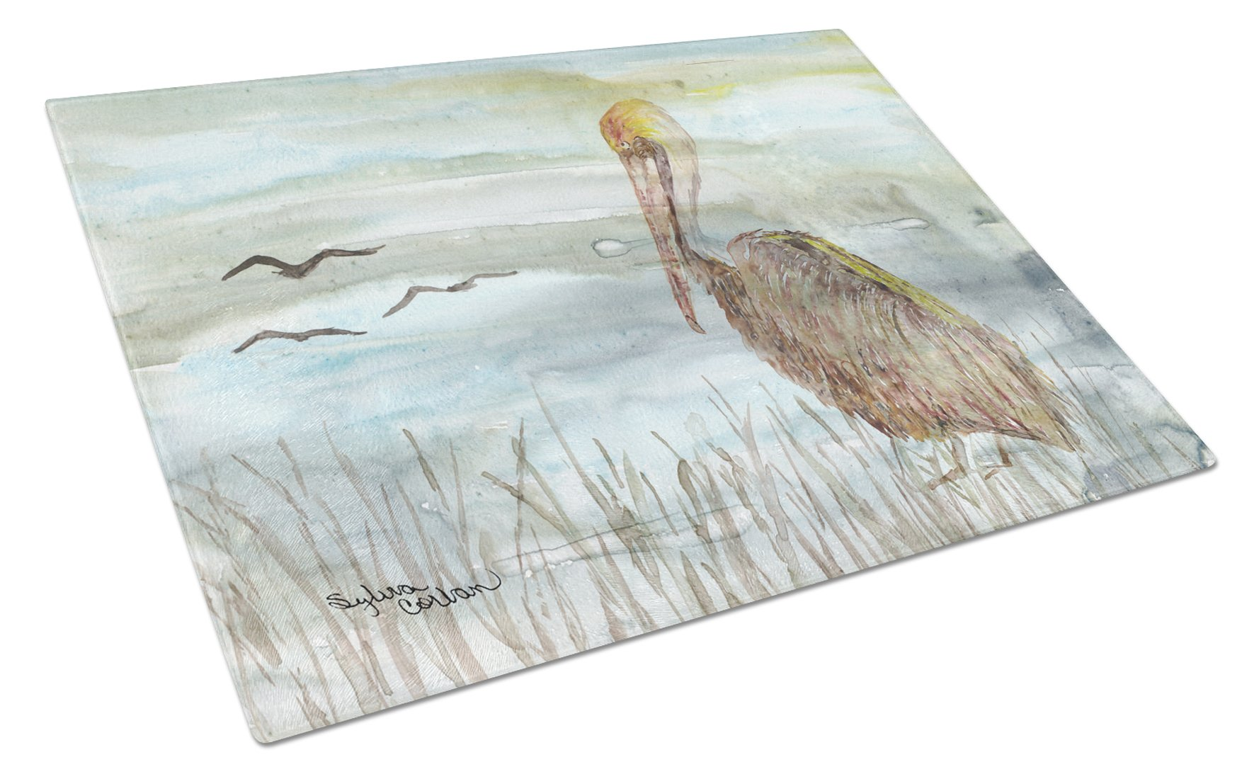 Brown Pelican Watercolor Glass Cutting Board Large SC2009LCB by Caroline's Treasures