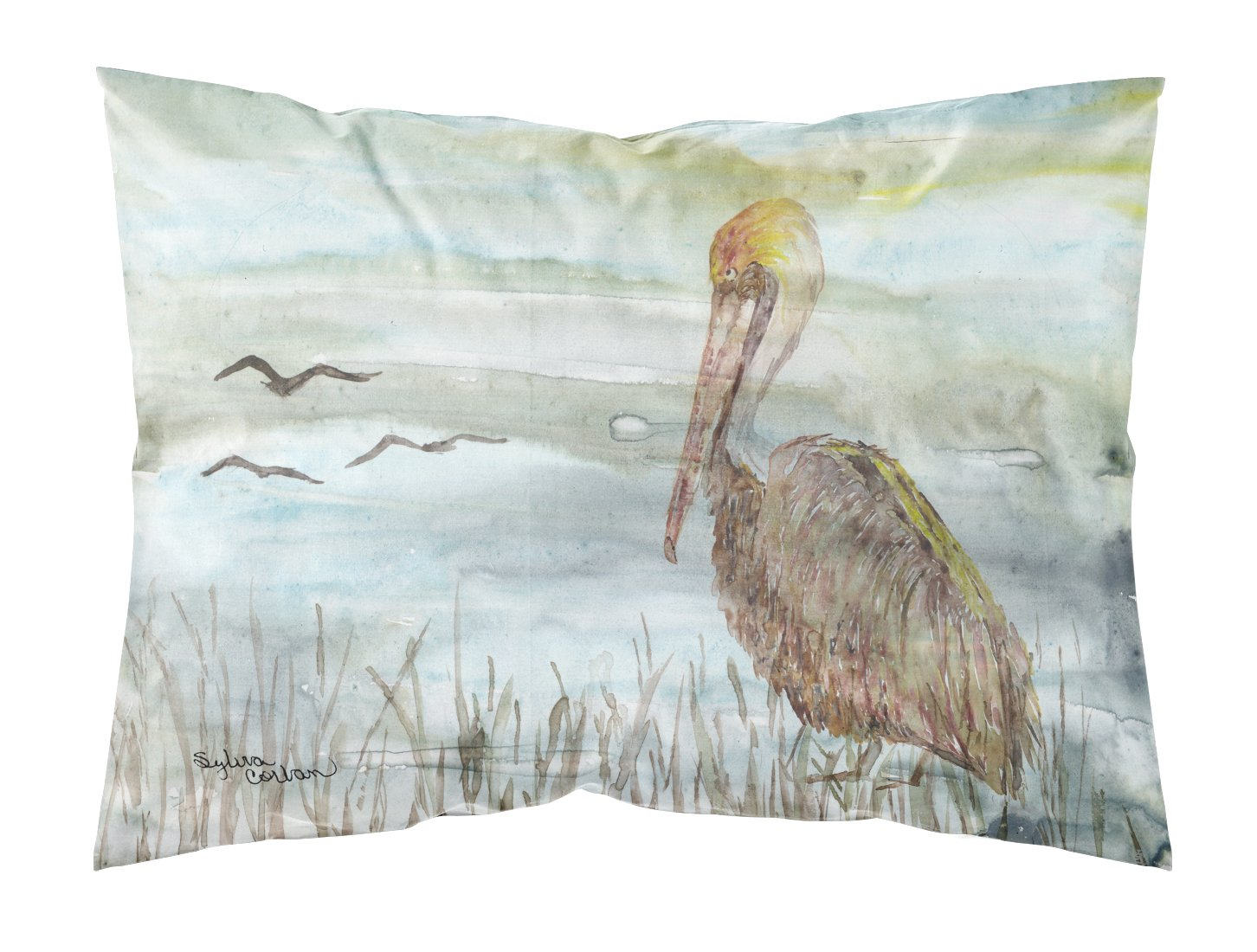 Buy this Brown Pelican Watercolor Fabric Standard Pillowcase SC2009PILLOWCASE