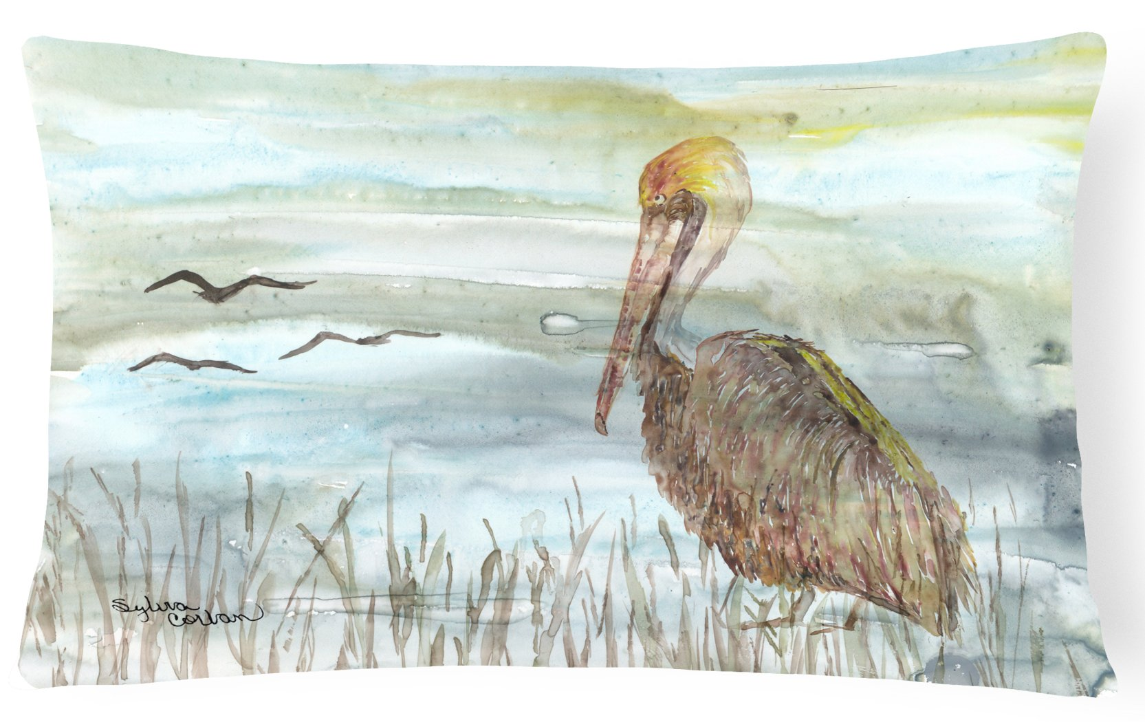 Buy this Brown Pelican Watercolor Canvas Fabric Decorative Pillow SC2009PW1216