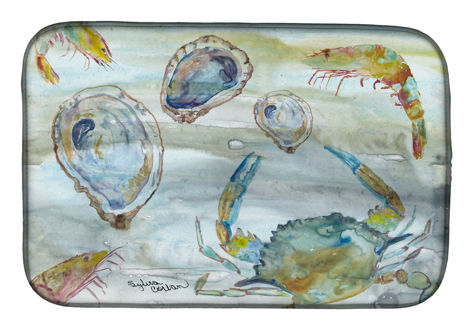 Buy this Crab, Shrimp and Oyster Watercolor Dish Drying Mat SC2010DDM