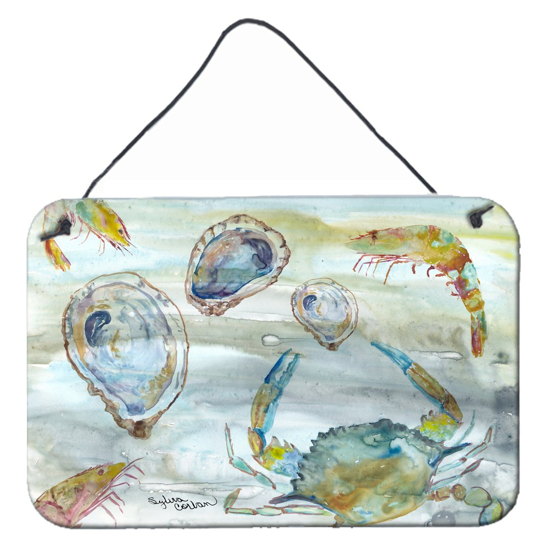 Crab, Shrimp and Oyster Watercolor Wall or Door Hanging Prints SC2010DS812 by Caroline's Treasures