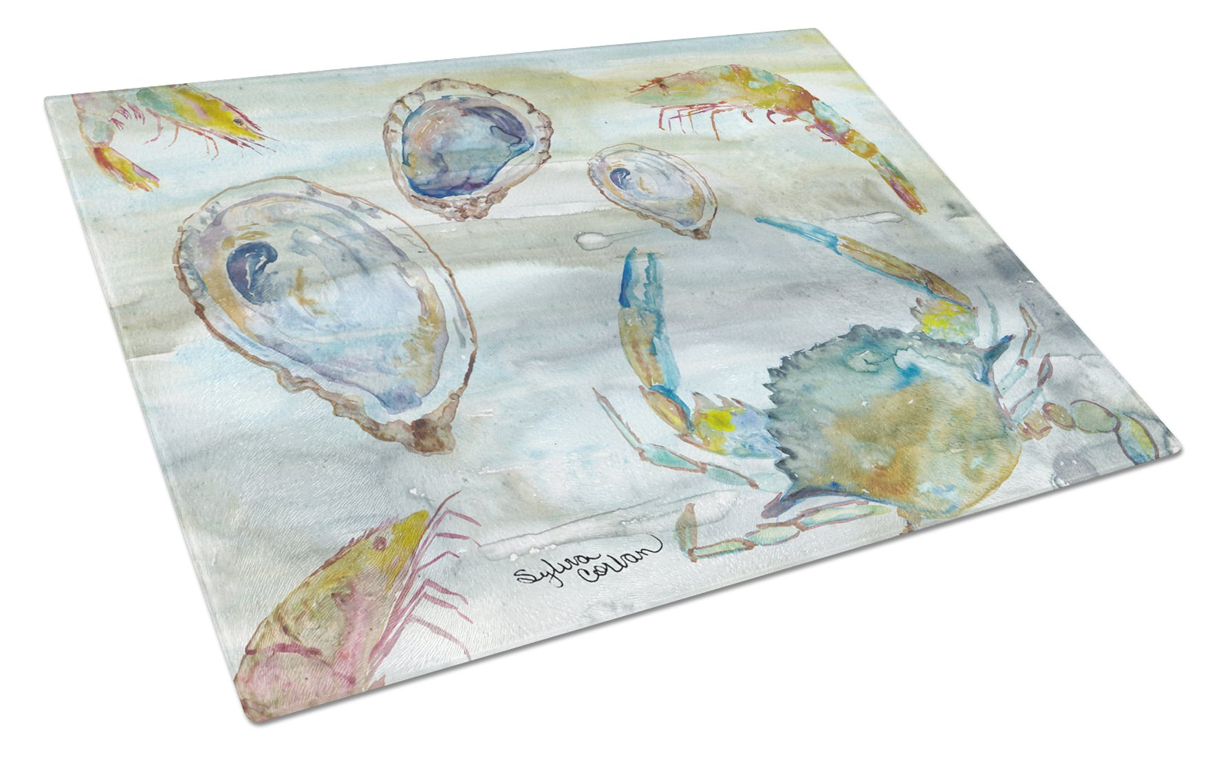 Crab, Shrimp and Oyster Watercolor Glass Cutting Board Large SC2010LCB by Caroline's Treasures