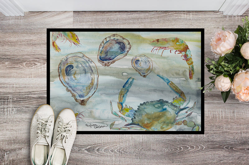 Buy this Crab, Shrimp and Oyster Watercolor Indoor or Outdoor Mat 18x27 SC2010MAT