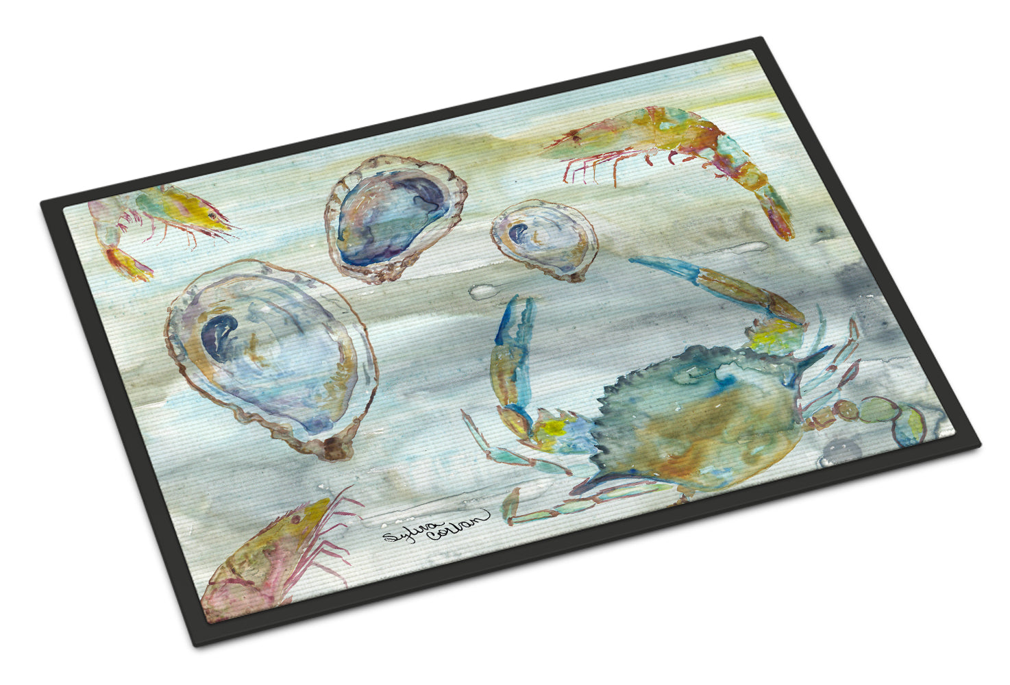 Crab, Shrimp and Oyster Watercolor Indoor or Outdoor Mat 18x27 SC2010MAT by Caroline's Treasures