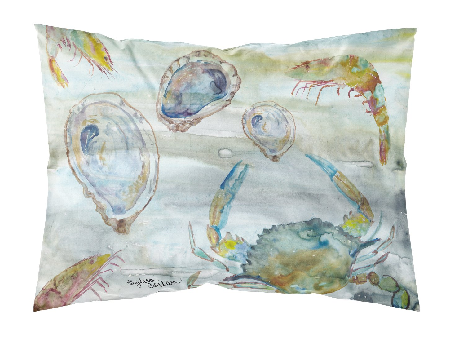 Buy this Crab, Shrimp and Oyster Watercolor Fabric Standard Pillowcase SC2010PILLOWCASE