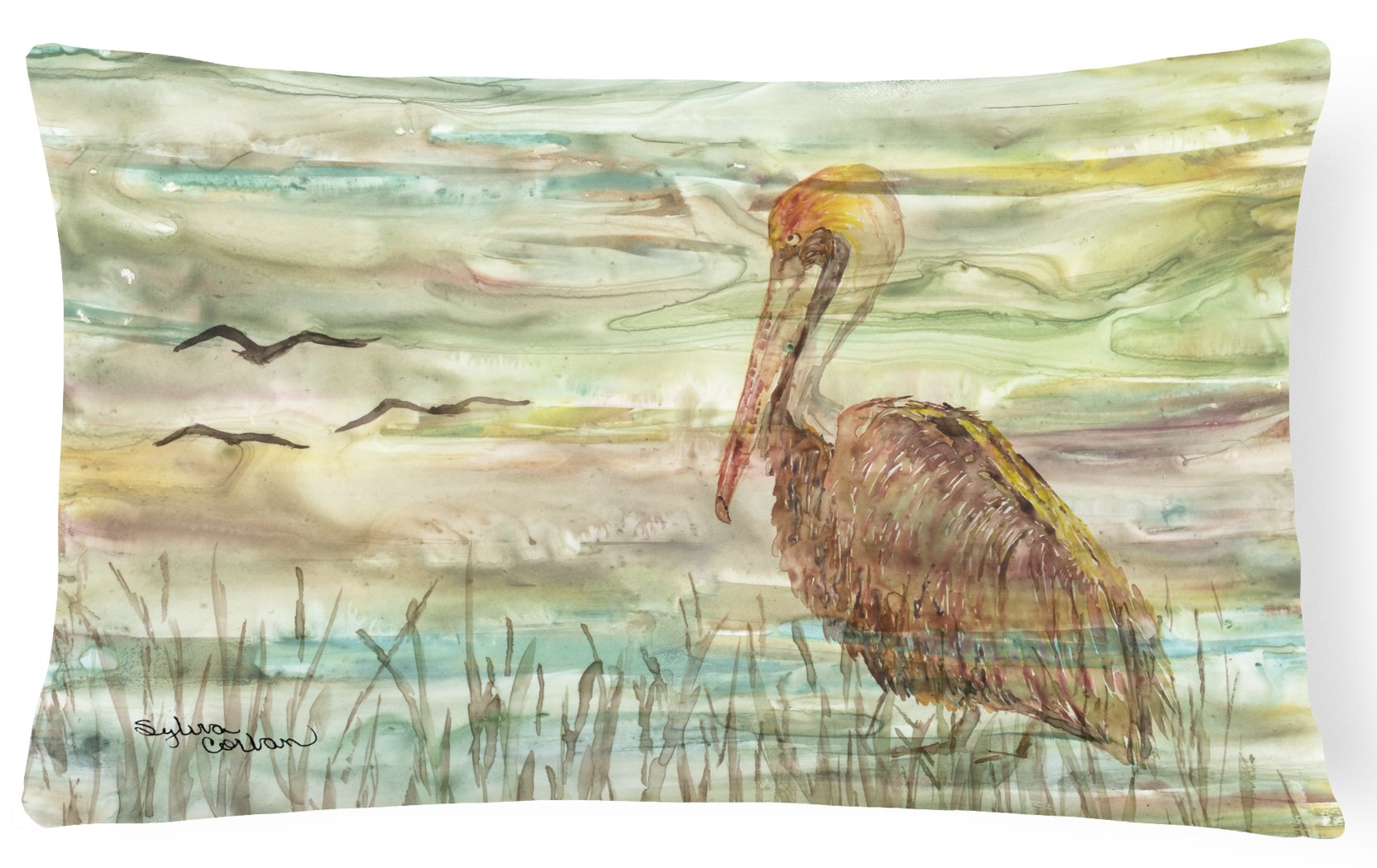Buy this Brown Pelican Sunset Canvas Fabric Decorative Pillow SC2011PW1216