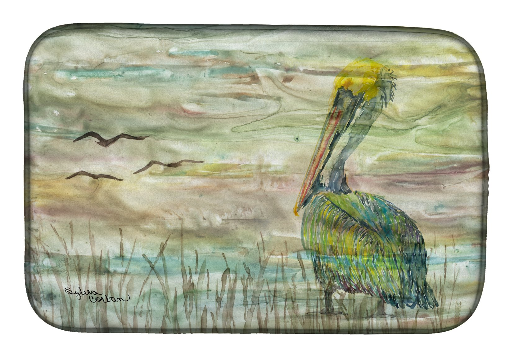 Pelican Sunset Dish Drying Mat SC2012DDM by Caroline's Treasures