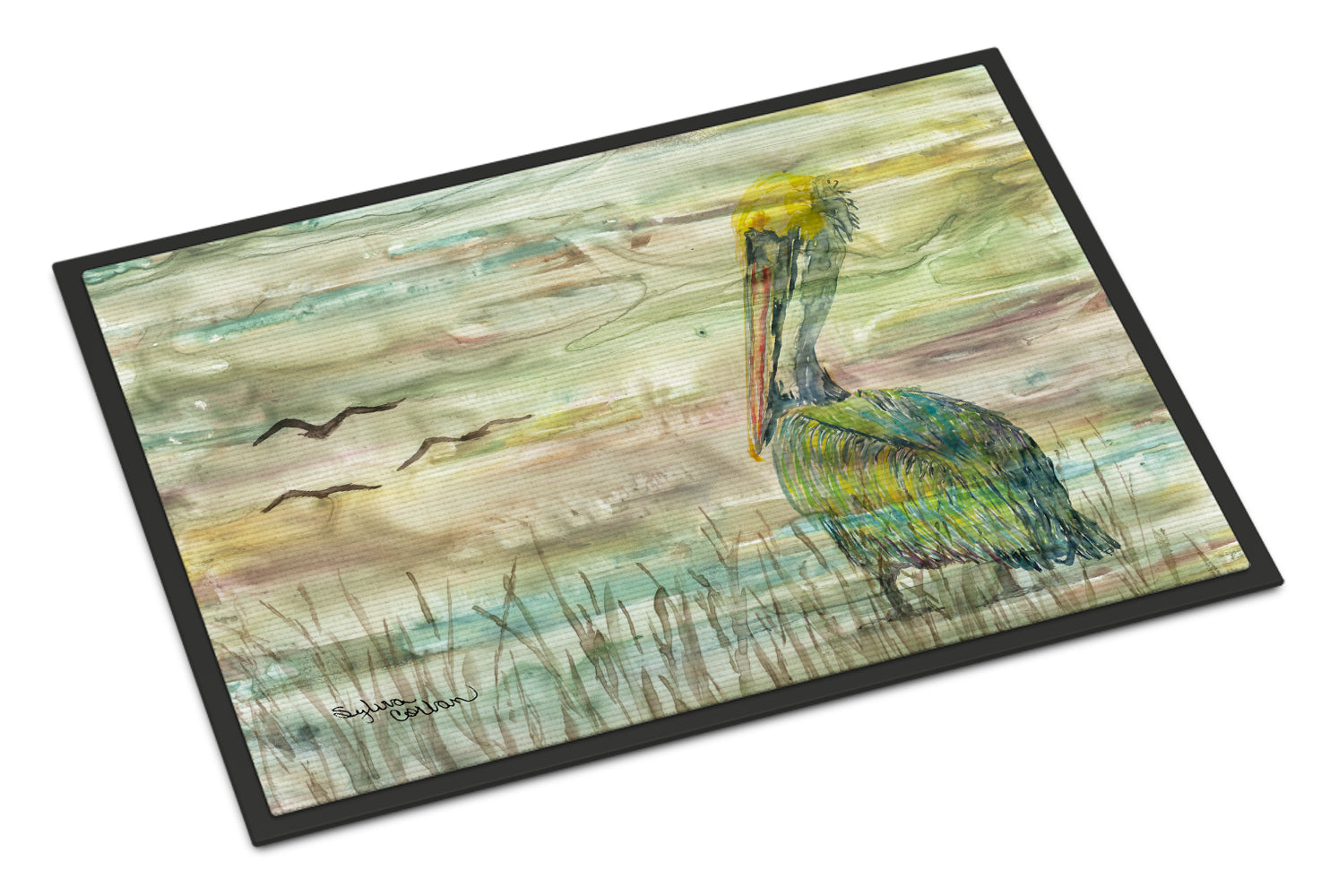 Pelican Sunset Indoor or Outdoor Mat 18x27 SC2012MAT by Caroline's Treasures