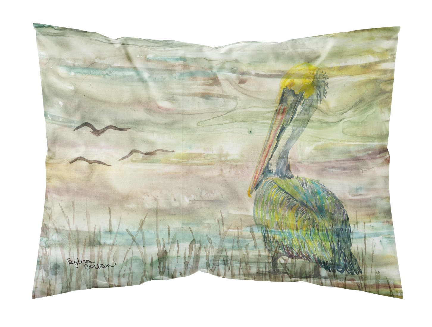 Pelican Sunset Fabric Standard Pillowcase SC2012PILLOWCASE by Caroline's Treasures