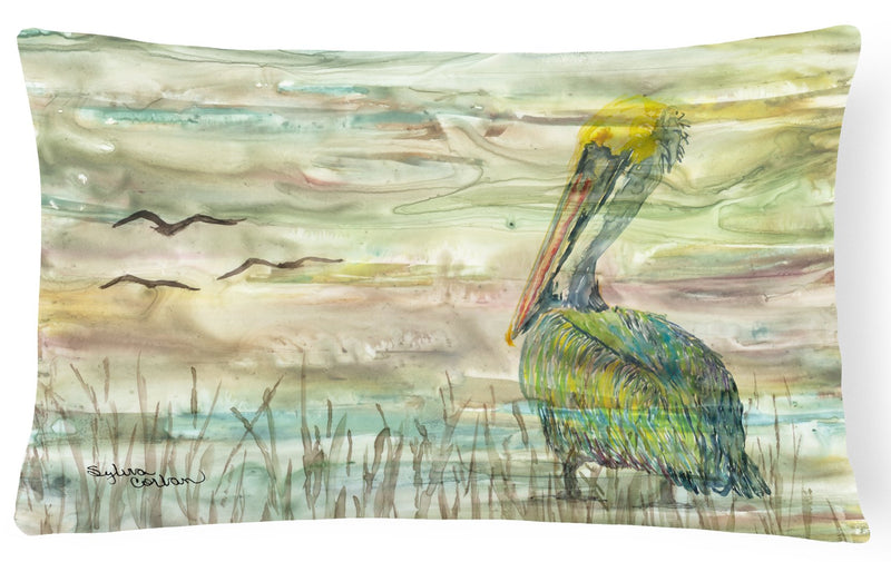 Pelican Sunset Canvas Fabric Decorative Pillow SC2012PW1216 by Caroline's Treasures