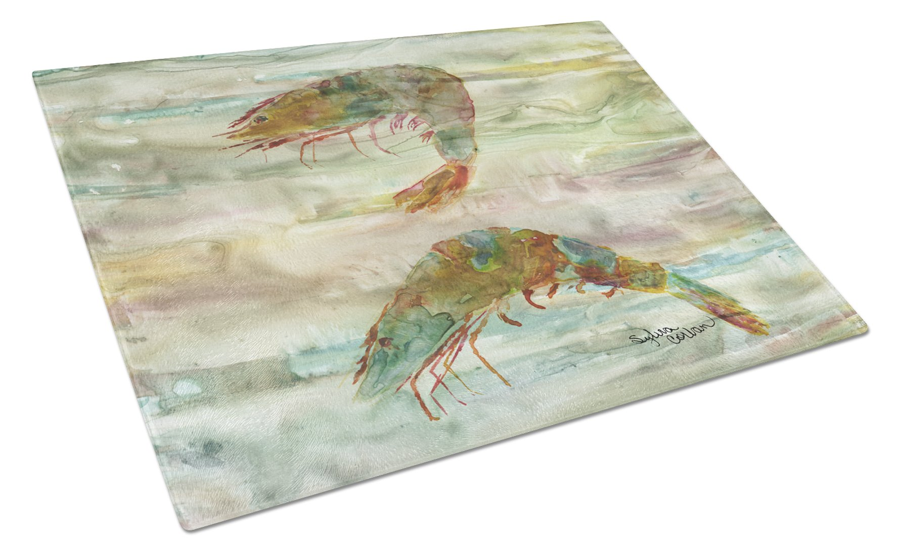 Shrimp Sunset Glass Cutting Board Large SC2014LCB by Caroline's Treasures