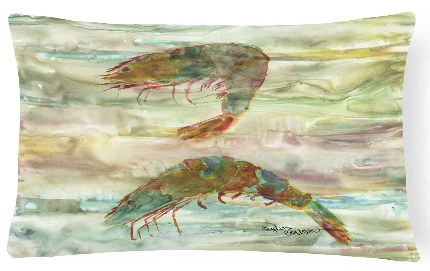 Shrimp Sunset Canvas Fabric Decorative Pillow SC2014PW1216 by Caroline's Treasures