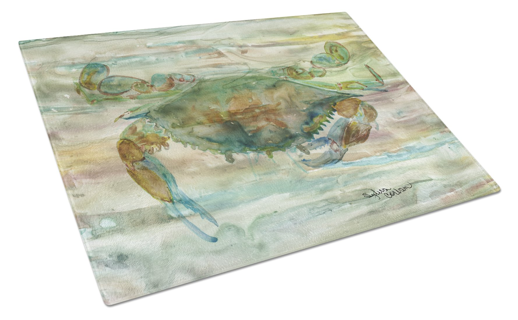 Crab a leg up Sunset Glass Cutting Board Large SC2015LCB by Caroline's Treasures