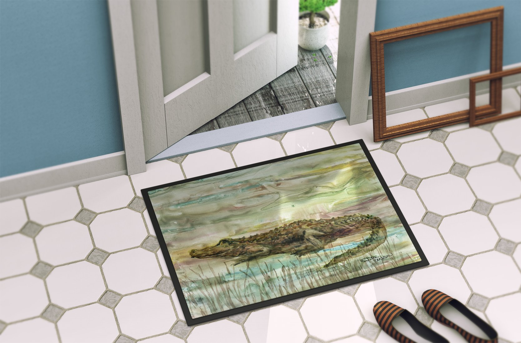 Alligator Sunset Indoor or Outdoor Mat 24x36 SC2016JMAT by Caroline's Treasures