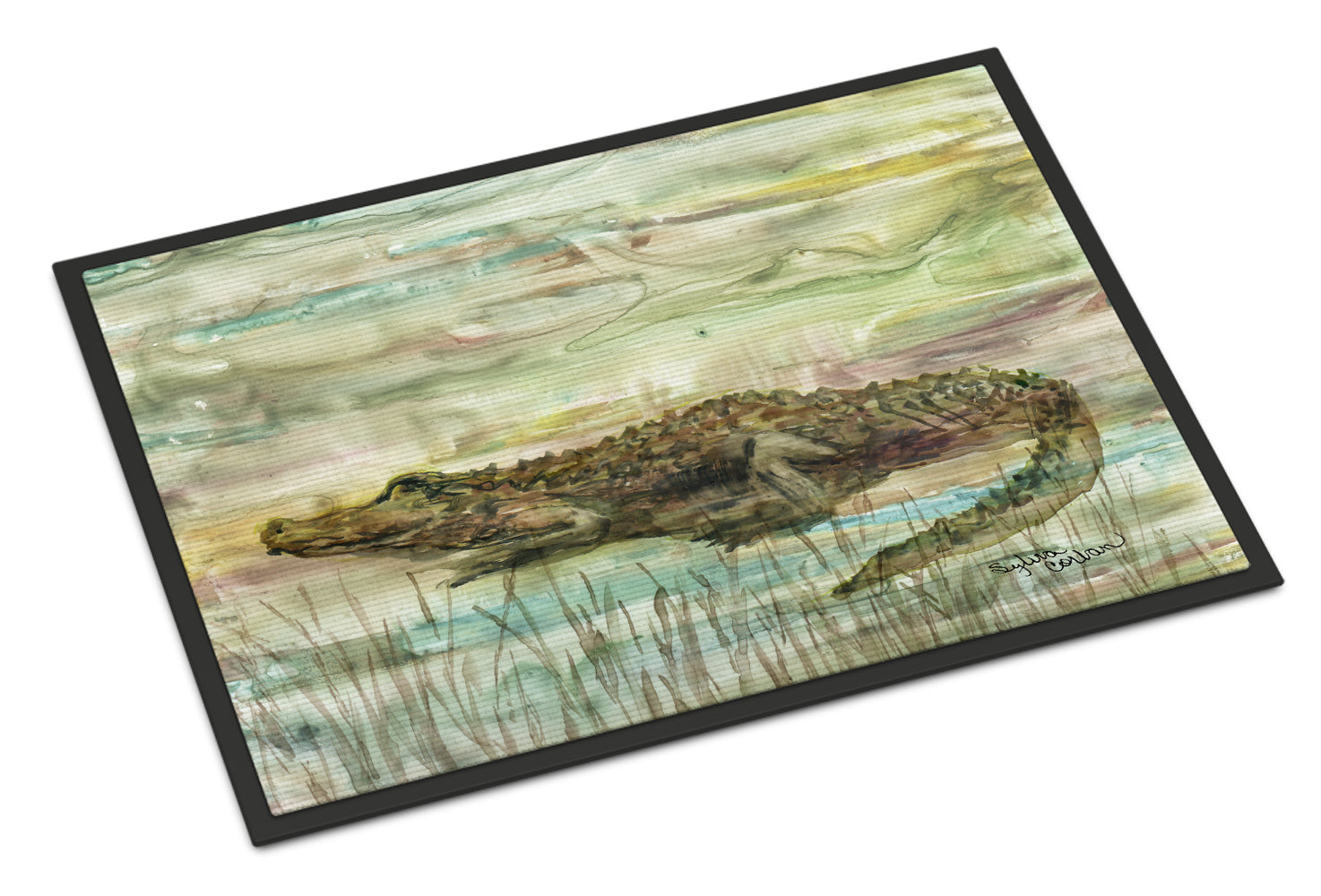 Alligator Sunset Indoor or Outdoor Mat 18x27 SC2016MAT by Caroline's Treasures